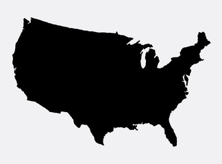 The United States of America map island silhouette. Good use for symbol, logo, web icon, game element, mascot, or any design you want. Easy to use.