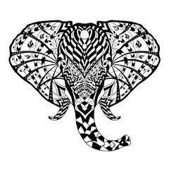 Elephant. Ethnic patterned vector illustration. African, indian, totem, tribal, zentangle design