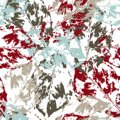Grunge pattern with leaves on light background