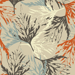 Grunge pattern with leaves on pale brown background