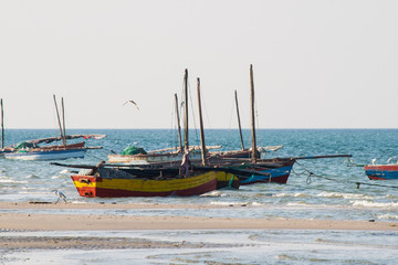 Fishing boats at the coast of Mozambique.