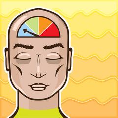 Relax Alert gauge meditating person vector