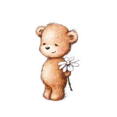 a teddy bear with daisy