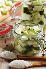 Marinating zucchini