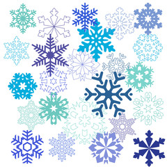 A pattern of snowflakes in different forms in blue colors on a w