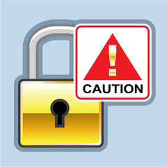 Caution Golden Lock vector Icon