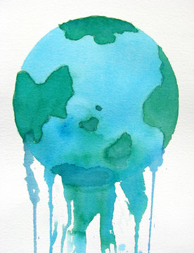 earth melting watercolor background design