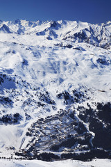 Aerial view of Meribel ski resort in winter.