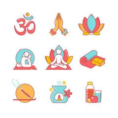 Yoga thin line icons set