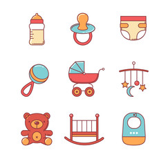 Baby icons thin line set