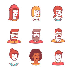 Human faces icons thin line set. Hipsters