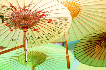 Chinese umbrellas photographed from below