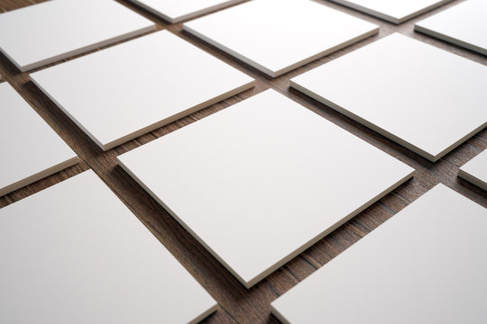 3D set of square business cards close up