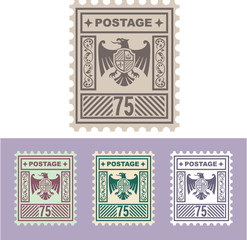 Vector Mail Stamp with Eagle Badge Shield Seventy Five