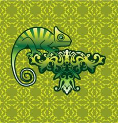 Chameleon Vector art on floral design with background