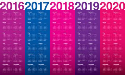 Calendar 2016 2017 2018 2019 2020