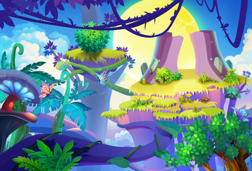 Illustration: Moon Shadow Mountain. Seems the vine is the only path to the other side. Removed the girl and raccoon. Upgraded Version. Cartoon Style. Scene / Wallpaper Design