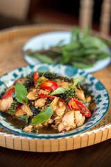 Thai spicy food basil chicken.