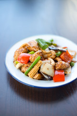Stir-fried chicken with cashew nuts delicious Thai food