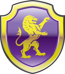 Purple Royal Shield with golden Lion Vector art