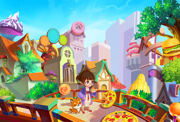 """Illustration: """"Hey, free pie! Mmm... Delicious! But where does it come from?"""" Our lovely girl Lulu, wondering in a morning in her town. Fantastic / Cartoon Style. Wallpaper / Background / Scene Design"""