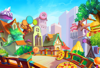 Illustration: A beautiful town with food falling from sky in the morning. Removed our lovely girl Lulu in case you need the scene. Fantastic / Cartoon Style. Wallpaper / Background / Scene Design
