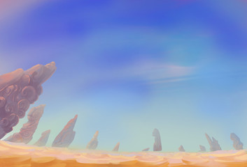 Illustration: The Desert View with different combination: White Cloud, Blue Sky, Shifting Sand, Weird Stone Pillars. Fantastic Realistic Cartoon Style. Wallpaper Background Scene Design.