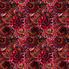 Seamless ornamental pattern with Indian filigree ornament - red