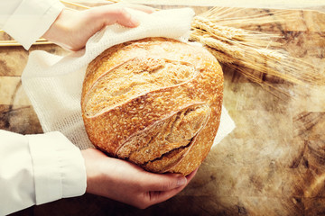 Baker holding a loaf of bread on rustic background