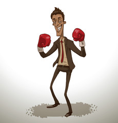 Vector red business fighter. Cartoon image of a businessman in a brown suit, red tie and red boxing gloves on a light background.