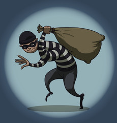 Vector cartoon image of a robber in black pants and a striped jacket with a mask on his face with a sack of loot in his hand on the background of a ball of light on a blue background.