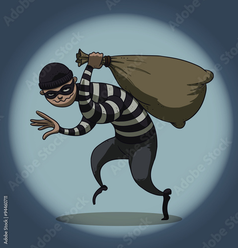Vector Cartoon Image Of A Colored Set Differents Retro Robbers In Black Masks Striped Dress And With Different Attributes Theft The Hands On