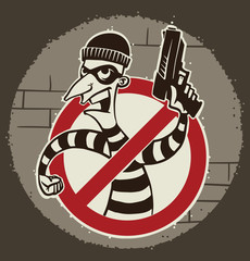Vector cartoon image of a robber in black pants and a striped jacket with a mask on his face with a gun in his hand in the sign ban on the background of a ball of light. Pictured in a retro style.
