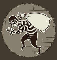 Vector cartoon image of a robber in black pants and a striped jacket with a mask on his face with a sack of loot in his hand on the background of a ball of light. Pictured in a retro style.