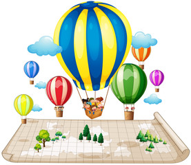 Children traveling by balloon