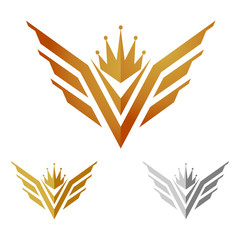 Golden King Wings Emblem Illustration