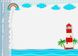 Paper design with lighthouse and ocean