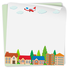 Paper design with airplane and houses