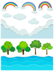 Nature scene with rainbow and river