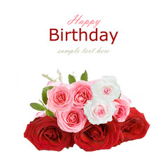 Rose flowers bunch isolated on white background. Birthday concept.