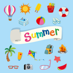 Banner design with summer objects