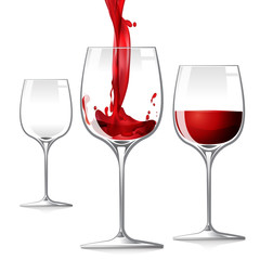 Glass filling red wine and another blank glass