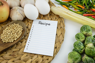 Recipe note, cooking ingredient and vegetable