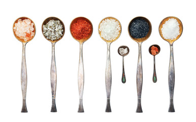 Assortment of salt. Vintage metal spoons