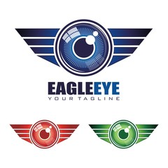 Eagle Eye Logo Vector - Wings Eye Logo Vector