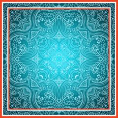 Elegant square floral paisley pattern.