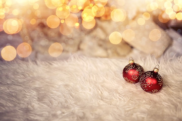 Decorative Christmas card with baubles and ambient lighting