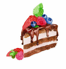 the delicious cake watercolor hand drawing on wallpaper isolated on the white background