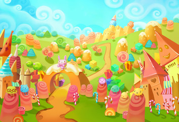 Illustration: Welcome to the Candy Land! You lost in forest and suddenly meet the little candy world. Those little candy creatures saw you too. Welcome, they seems said. - Fantastic Style Scene Design