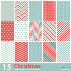 Set of Christmas patterns and seamless background